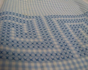 Vintage Apron Blue Gingham Hand Embroidered