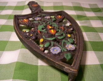 Vintage Wilton Cast Iron Folk Art Trivet