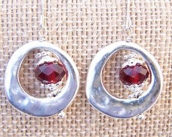 Birthstone earrings Swarovski crystal metal dangling earrings
