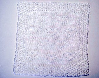 White Hearts Dishcloth