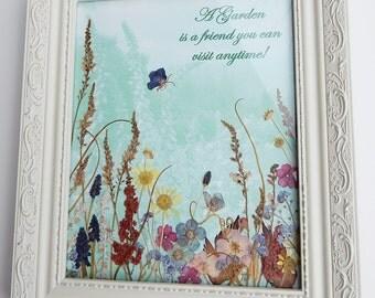 Cottage Garden Real Flower Art Pressed Flower Garden Spring Gardeners Gift