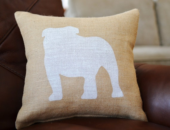 Bulldog Silhouette Pillow English Bulldog Silhouette