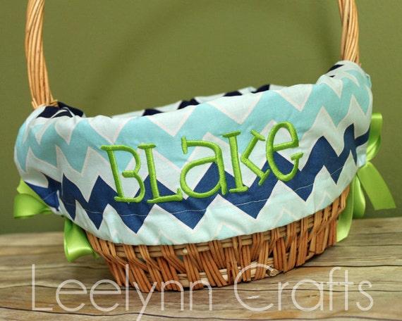 Personalized Easter Basket Liner Blue Multi By Stitchedstamped