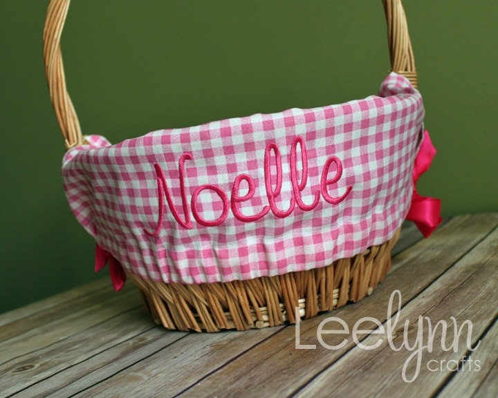 Personalized Easter Basket Liner Pink Gingham Plaid