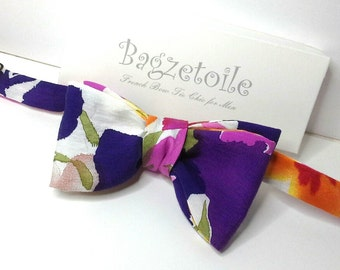 Bow Tie, in colourful print fabric, self tie, freestyle for men handmade by Bagzetoile