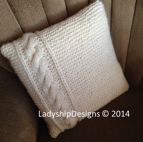 PDF KNITTING PATTERN, Cable knit pillow cover pattern, knitted cushion patter...