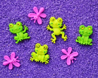 Happy Frogs and Pink Dragonfly Buttons  ~Terrarium Accessory ~ ~ Button ~ Craft Supply ~ 2 pieces