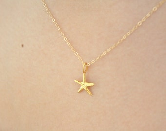 Gold Necklace, Dainty Gold Necklace, Gold Starfish Necklace, Layering Necklaces, Bridesmaid Necklace, Gold Jewelry Mothers day gift, friend