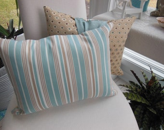 Blue Pillow - Beige Pillow - Duck Egg Blue and Beige Elegant Sash Diamond and Striped Design Pillow - Bedroom Decor - Insert Included
