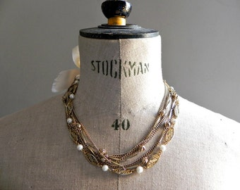 French Vintage Multistrand  Necklace with pearls