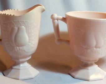 Vintage Pink Milk Glass Creamer Sugar Jeannette Pink Glass Mid Century Creamer Sugar