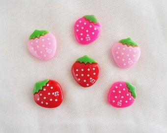 6pcs - Cute Strawberry Mix Decoden Cabochon (18x16mm) FR10003