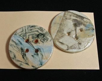 Handmade porcelain buttons, Black graphic, Sewing, Knitting, Weaving, Felting, Designer, Unique, Light blue glaze, Handmade, Ceramic(eb278)
