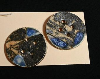 Handmade porcelain buttons, Black graphic, Ceramic, Felting, Sewing, Quilting, Craft, Fashion, Unique, Blue glaze, Designer, OOAK (eb284)
