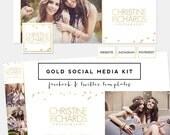 SALE! Gold Foil Social Media Kit PREmade Logo - Facebook Timeline Cover - Twtter background & Header + profile templates