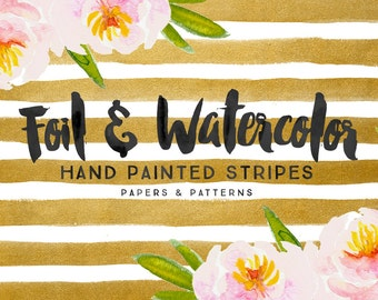 25% OFF Foil & Watercolor Stripes digital papers - digital patterns - for photographers or personal use
