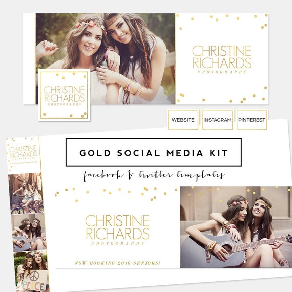SALE! Gold Foil Social Media Kit PREmade Logo - Facebook Timeline Cover - Twtter background & Header + profile templates
