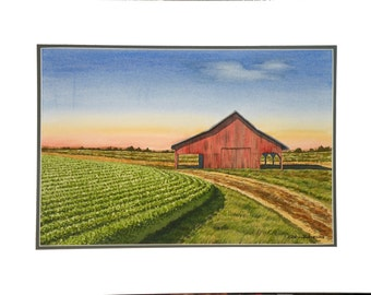 Watercolor painting, Red Barn, midwest, old barn