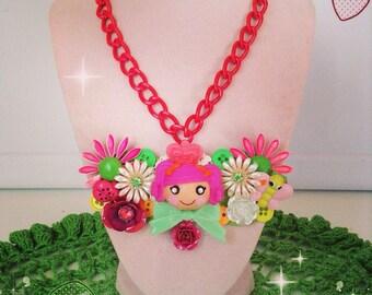 lalaloopsy vintage assemblage kawaii bib necklace