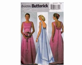 Bridal Fashions Pattern UNCUT OOP Sewing Pattern Sizes 12 14 16 Butterick 4096 Misses Dress evening length with princess seams bow back fall