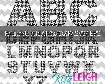 Houndstooth Alphabet .DXF/SVG/.EPS File for use with your Silhouette Studio Software
