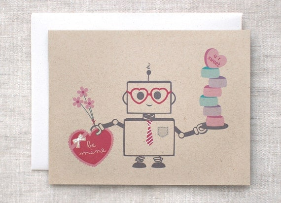 Cute Valentine Card, Kawaii Cute Nerdy Tech Art Print, Hand Painted Robot Card, Valentines Day Card, Recycled Anniversary Card, Adult, Kids