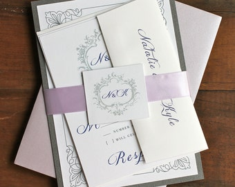 "Elegant Purple Wedding Invitations, Lavender, Lilac Wedding Invites, Monogram Invitation - ""Classic Love Lilac"" Deposit"