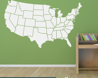Map Wall Decal Etsy - Us map wall decal