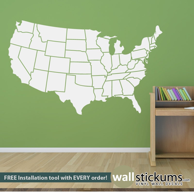 USA Map Wall Decal States Outline Educational Bedroom - Us map wall decor