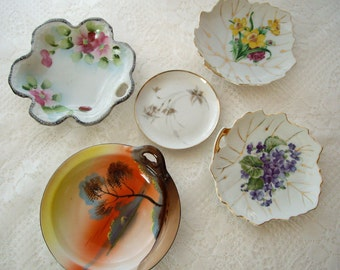 Vintage Mini Plates Germany Japan Italy ring/bone/trinket/soap/biscuit/butter pat  1950s