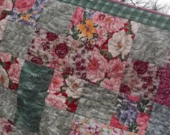 Pink and Green Floral Lap, Picnic, Nursery, Table or Garden Quilt