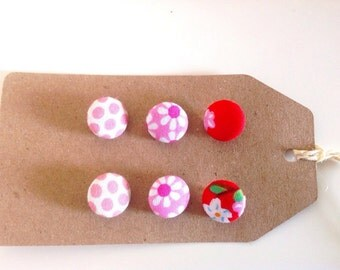 Mixed pink and red fabric covered button pack