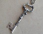 Silver Skeleton Key Necklace Beaded Jewelry Sparkle Pendant Renaissance Faire