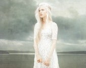 Sea scape with very pale maiden, dreay ghost like, drama queen, blue gray white, romantic scene for anyone to enjoy, country chic