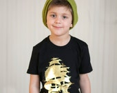 Pirate  Ship - Gold Foil -boys graphic tee - 2t to 6