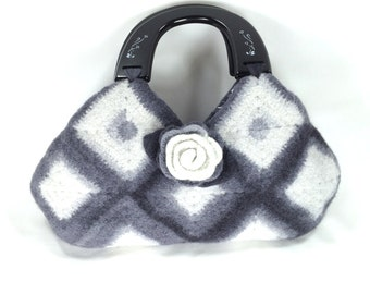 Felted Wool Bag  Purse Shades of White, Gray and Black   Fiber Art Granny Square Handbag crochet purse removeable Rose Brooch by LJD