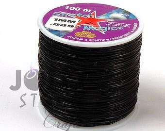Bulk Stretch Magic Black 100M Spool 1mm Diameter stretchy cord