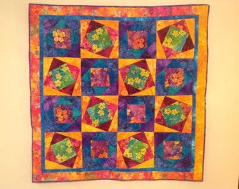 TAHITI SUMMER  quilted wallhanging fiber art