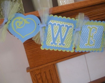 Baby Boy Banner, Welcome Home Baby Boy Banner, Blue Green with hearts banner, Baby Girl Banner Matching Tissue Poms are Available