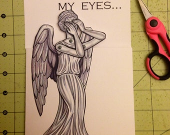 Doctor Who Valentine's Day Card with Articulated Weeping Angel Paper Doll - fully assembled ready to ship
