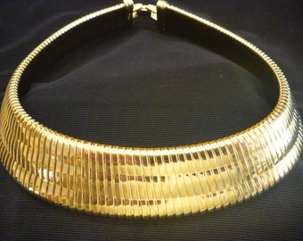 Vintage MONET Wide Gold Egyptian COLLAR NECKLACE