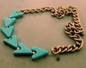 Turquoise Chevron Necklace: Tribal Hemolite Chevron Necklace, Chain, Tribal, Native, Chevron, Arrowhead