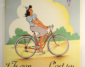Hurricane Vintage Original Bicycle Poster