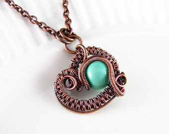 Wire Wrapped Pendant Mint Green and Copper Jewelry Wire Wrapped Jewelry Heart Necklace Copper Necklace