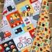 Toddler Quilt Kit, Ann Kelle, Robert Kaufman Fabrics, Panel Cheater Print, Vehicles Firetruck Ambulance Dump Truck Cars, Simple Easy Quick