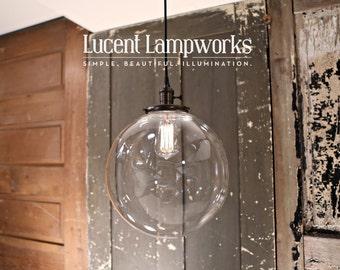 "Chandelier Lighting with 12"" Glass Globe Shade and Exposed Socket"