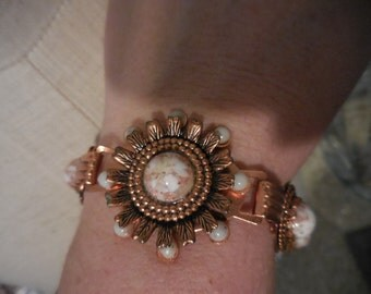 Vintage 1960s to 1970s Copper Colored/Looking Bracelet With Copper Confetti Cabochons Medallion