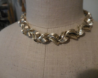 Vintage Gold Tone Adjustable Kramer Necklace 1960s Metal Brushed and Shiny Chunky Thick