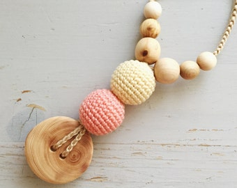 Best Babywearing Necklace in Peach & Light Yellow, Juniper Wood