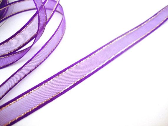 Nylon Knitting Ribbon : Purple nylon ribbon with gold metallic accent yards